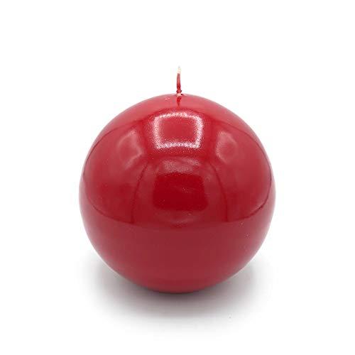 GIRM KIT00011 Set 4 candele a sfera color rosso  8 cm. Decorazione natalizia, candela di Natale, centrotavola di natale
