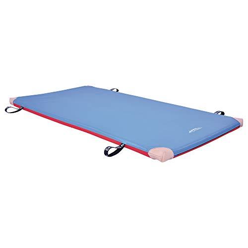 Grevinga Fun-Turnmatte Soft (RG 35 - weich) (BLAU-ROT 200 x 100 x 8 cm) mit Lederecken UND Trageschlaufen