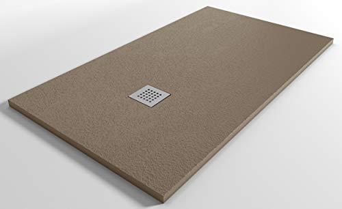 Plato de ducha reducido de resina mineral StoneLine, fabricado en Italia, color pardo, 140 x 90 cm