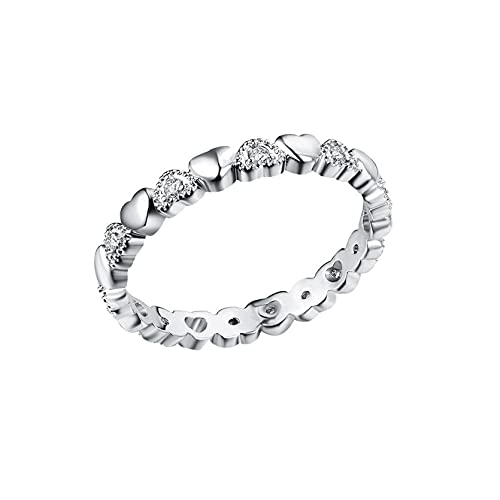 925 Plated Silver Rings,Couple Rings Simulated Diamonds Cubic Zirconia Women's Engagement Rings for Women Rings (Silver, 8)
