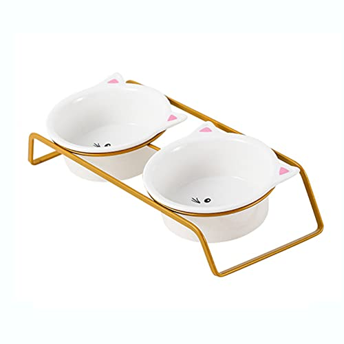 Ceramic Cat Bowl, Cat Food Bowl with Metal Holder,15° Inclined Cat Food Bowl Set,Spine Protect Inclined Design for Cats and Dogs,350Ml Double Bowl,Gold