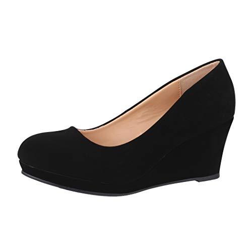 Elara Damen Pumps Keilabsatz Schuhe mit Plateau Chunkyrayan B8011Y-PM-Schwarz-43