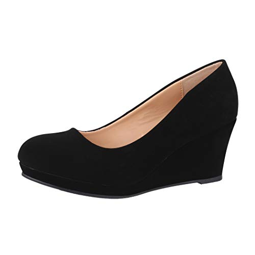 Elara Damen Pumps Keilabsatz Schuhe mit Plateau Chunkyrayan B8011Y-PM-Schwarz-39