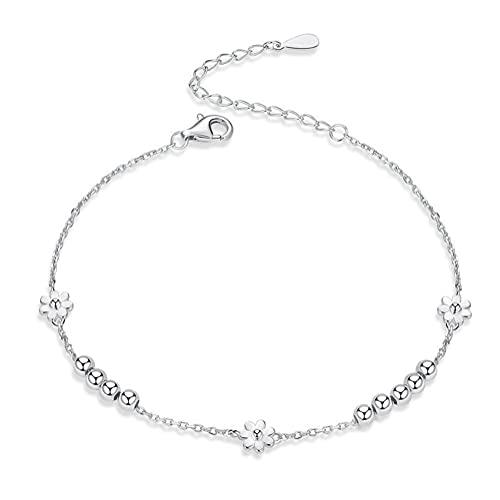 Lafeil 925 Sterling Silver Daisy Flower Bracelet Silver Ball Beaded Adjustable Anklet Girl Sister Child Mother Jewelry Graduation Season Gift