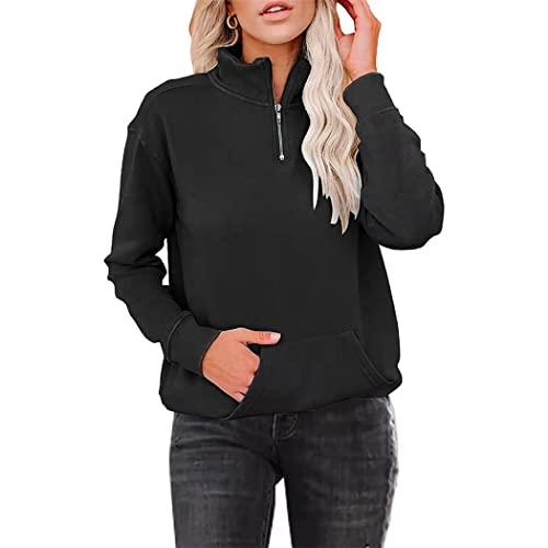 FRMUIC Women's Solid Color Fleece Sweatshirt Zipper Lapel Long Sleeve Pocket Sports Pullover (3X-Large, Black)