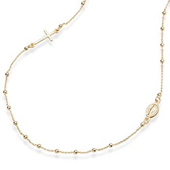 MiaBella 18K Gold Over Sterling Silver Italian Rosary Beaded Sideways Cross Necklace Link Chain 16 18 22 Inch for Women Teen Girls 925 Italy  22 Inches