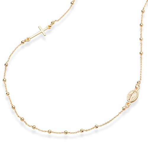 Miabella 18K Gold Over Sterling Silver Italian Rosary Beaded Sideways Cross Necklace, Link Chain 16, 18, 22 Inch for Women Teen Girls 925 Italy (18 Inches)