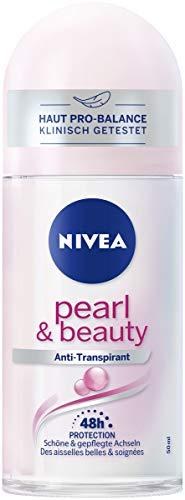 Desodorante Nivea Pure Pearl & Beauty Roll On (50 ml), rodillo antitranspirante para una piel de las axilas cuidada, 48 horas de desodorante con protección antibacteriana.
