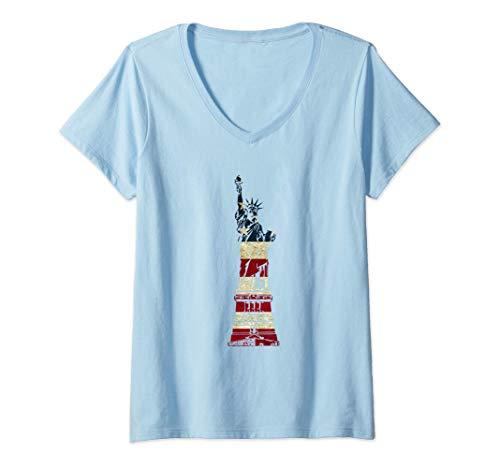 Mujer Estatua de la libertad bandera americana Camiseta Cuello V