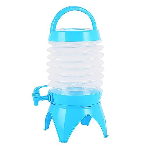 LUWEI Dispensador de Bebidas Plegable Cubo de Jarra de Cerveza Plegable, con asa de Transporte y Grifo, Cubo de Soporte de contenedor de Agua portátil Plegable, 5L,Azul