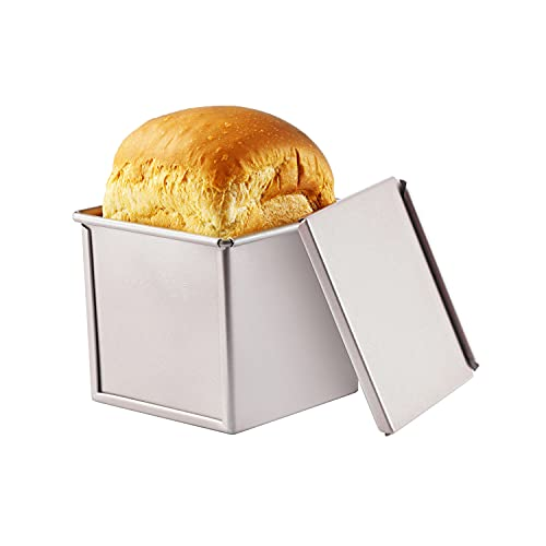 CHEFMADE Mini Pullman Loaf Pan with Lid, 0.55Lb Dough Capacity Non-Stick Rectangle Flat Toast Box for Oven Baking 3.9' x 3.9'x 3.9'(Champagne Gold)