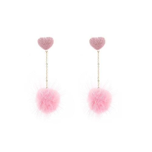 Fashion street pat Fur Pom pom Drop Earrings Dangling Earbob Jewelry For Women Girls (1030 Pink)