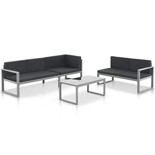 Festnight Canapé de Jardin en Aluminium Mobilier pour Terrasse canape de Salon de Patio Noir