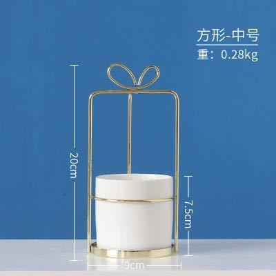 YFA Nordischen Stil Gold Bowknot Form Keramik Eisen Kunst Tabletop Vase Blumentopf Home Jäten Dekoration für trockene Blume PflanzeGold-Quadrat-M