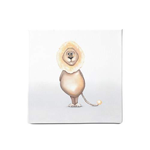 Dori´s Prints Löwen Bild auf Leinwand I Kinderzimmer Bilder mit Safari Tiermotiven I Wanddeko & Leinwandbild für Babyzimmer und Wohnzimmer I Gedruckt auf Bio Baumwolle