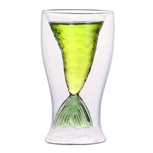 BECCYYLY Whiskey Glasses 80Ml Mer Maid Fish Tail Wine Glass Double Layer Beer Whiskey Cocktail Mug Cup The Mer Maid Tail Shape