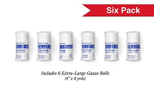 Elastic Stretch Gauze Rolls (6-Pack) - [ 2X Longer ] - Size: 4 inch x 8 Yards 2 Gauze Rolls