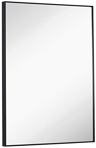 Hamilton Hills Black Brushed Metal Vanity Mirror Simple Edge Mirrors for Wall -