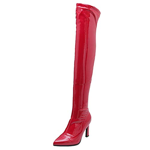 YQSHOES Lackleder Overknee-Stiefel, Hochhackige Gummistiefel, Sexy Trend, Damenstiefel,Rot,39