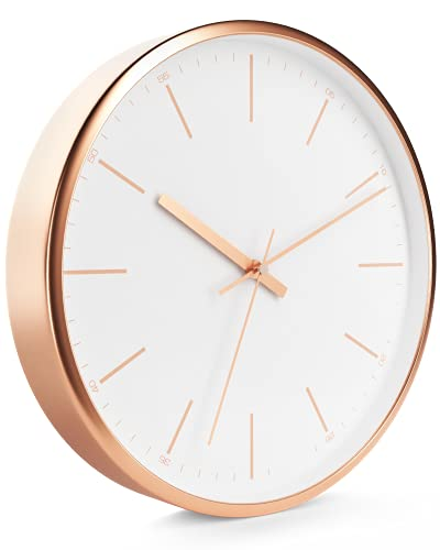 Driini Modern Rose Gold Analog Wall Clock (12 Inch) - Aluminum Frame and Hands - Minimalist Tick Marks on White Face - Contemporary Decor for Office, Living Room, Kitchen, or Bathroom