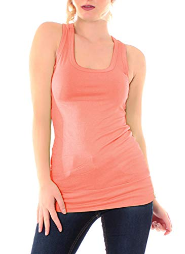 Easy Young Fashion Damen Tanktop Fitness Top Ringerrücken Sport Basic Shirt Skinny Fit Trägertop Unterhemd Uni One Size Lachs