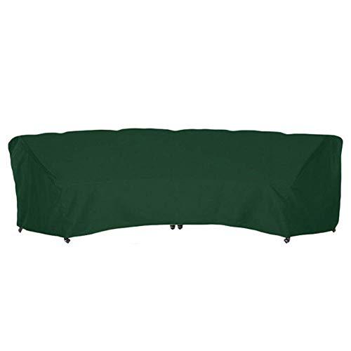 SFSGH Fundas para Muebles de Exterior, Protector de sofá Curvo para Patio, Funda Impermeable para Muebles de jardín para sofá de Media Luna, Verde, 228x116x86cm