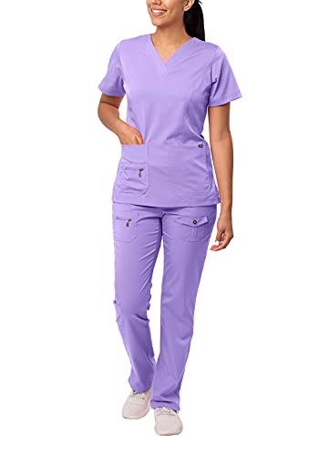 Adar Pro Breakthrough Plus Scrub Set for Women - Enhanced V-Neck Top & Multi Pocket Pants - 4400 - Lavender - L