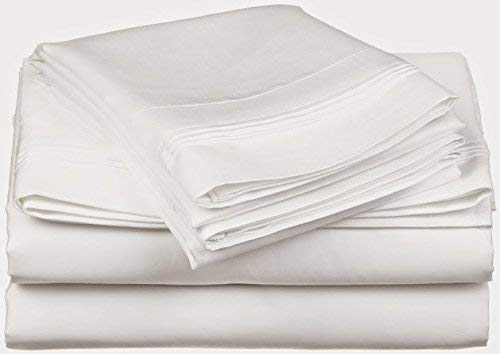 """Egyptian Cotton 800-Thread-Count 6-PCs Sheet Set Emperor/Wyoming King Solid White Fit Up to 25"""" inches Deep Pocket"""