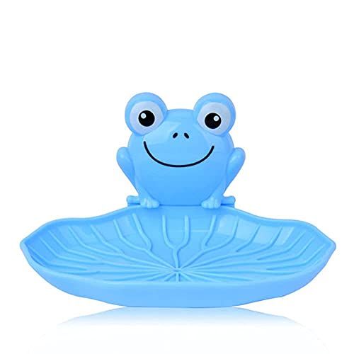 LWLEI Jabonera de plástico de plástico en Forma de Rana en Forma de Rana Caja de Almacenamiento de jabón con Ventosa Taza de baño para niños con Ducha de baño, Azul Song