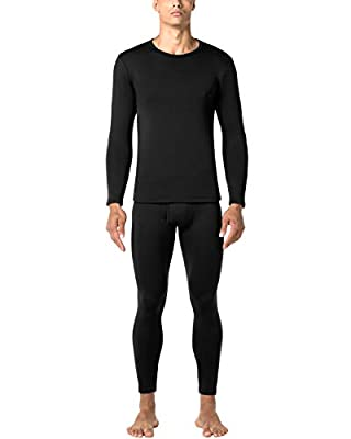 LAPASA Men's Heavyweight Thermal Underwear Long John Set Fleece Lined Base Layer Top and Bottom M24 Black