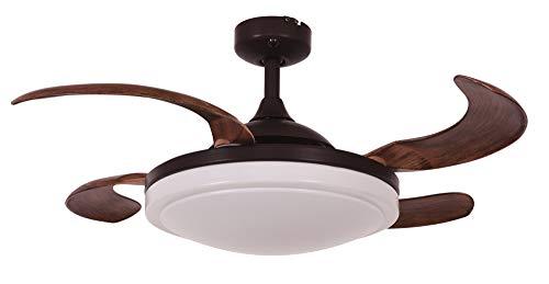 FANAWAY Evora - Ventilador de techo con luz (2 x E27) y mando a distancia, 51,5 W, aspas en Dark Koa, 94 cm de diámetro, 42 cm de plegado