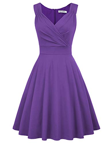 50s Retro Flared A-line Bridesmaids Dress Wear to Work Size XL Purple CL698-9