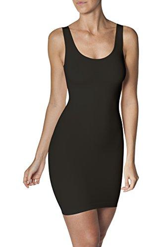 SLEEX Damen Shapewear Figurformendes Miederkleid (mit Breiten Traegern), Schwarz, Groesse S/M