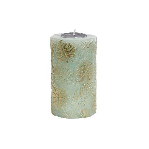 Wax kaars groen met glitter. Design gouden bladeren, ideaal om te versieren 7 x 7 x 12 cm