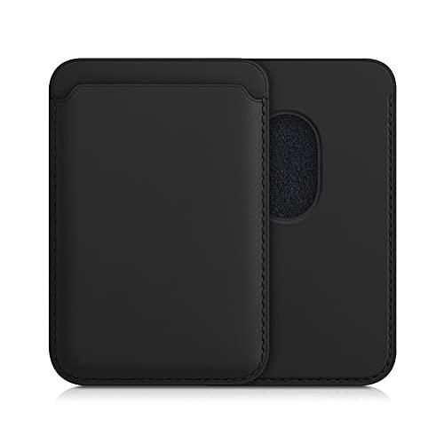 kwmobile Tarjetero Compatible con Apple iPhone 12/12 Pro / 12 Mini / 12 Pro MAX - Portatarjetas magnético de Cuero sintético - Negro