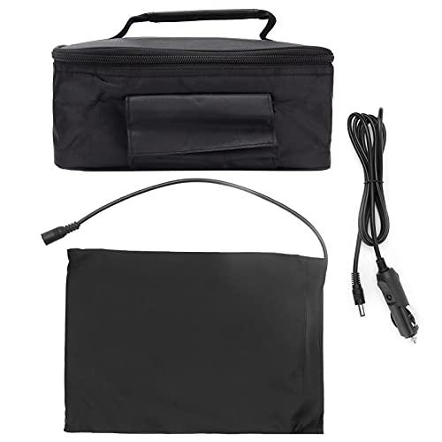 Les-Theresa Mini portátil para coche, microondas, 12 V, horno eléctrico, calefacción rápida, caja de picnic para viajes, camping, comida, cocina, negro