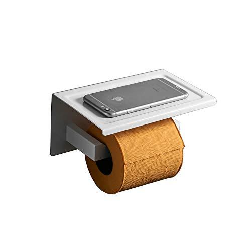 Kelelife Toilettenpapierhalter mit Ablage für Mobiltelefon, Edelstahl, Weiß