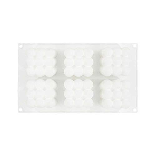 XJF Molde de silicona para hornear torta molde para hornear molde 3D cubo en forma de 6 cavidades para pastel de caramelo chocolate Cupcake Jelly
