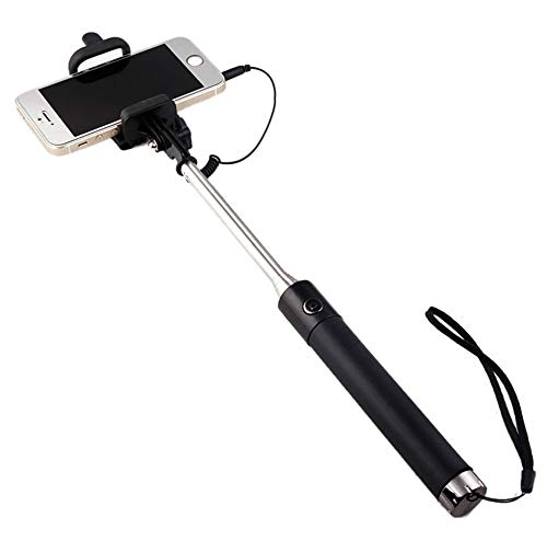 Selfie Stick Metal per ASUS Zenfone Max PRO (M2) Smartphone Asta Android iOS Regolabile Pulsante Foto Cable Jack Nero