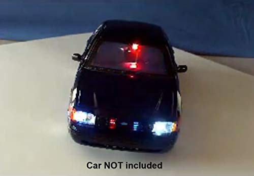 Diecast Police Led Lights and Siren Kit - Modify Your Own Model or R/C Car - 19 Pre-Wired Super Bright LEDs - Police Siren with 4 Real Sounds - Runs on a 9 Volt Battery