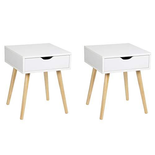 EUGAD 2er Set Nachttisch Nachtschrank Beistelltisch Nachtkommode Sofatisch, modernes & skandinavisches Design mit Schublade und Holz Beinen, 0076ZZ-2 Weiß