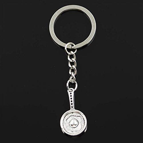N/ A SGDONG modieuze koekenpan spiegeleier 31 x 16 x 4 mm hanger 30 mm sleutelring ketting zilver kleur mannen auto geschenk souvenirs sleutelhanger