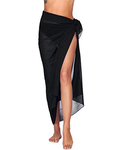Ekouaer Sarong Swimsuit Coverup for Women Chiffon Long Beach Tie Wrap Skirt Sexy Bikini Sheer Scarf Bathing Suit Bottom Black