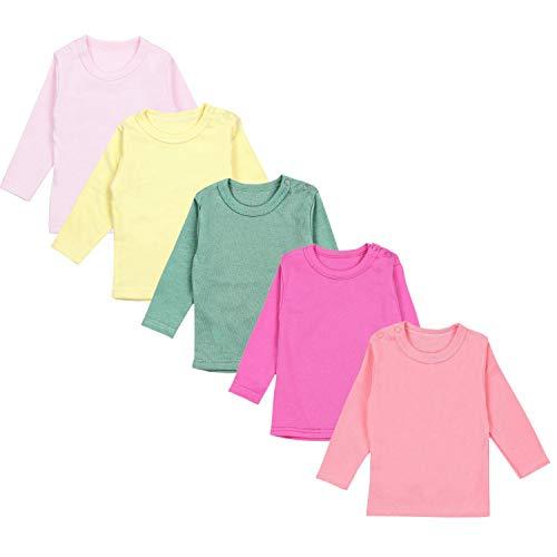 TupTam Camiseta de Bebé para Niña Manga Larga Pack de 5, Mix de Colores 6, 98
