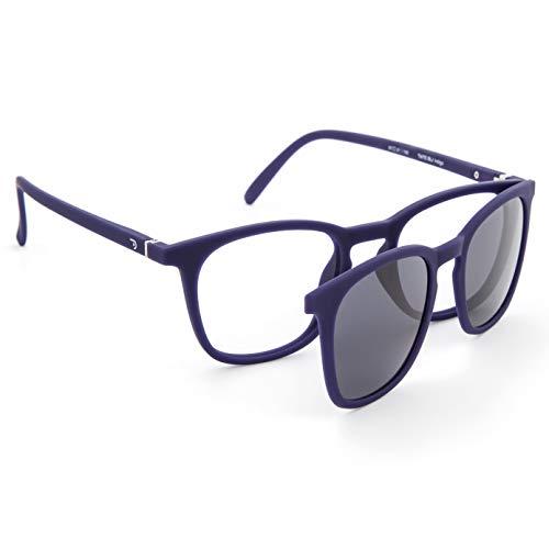 DIDINSKY Gafas de Presbicia con Filtro Anti Luz Azul con Capa de Sol. Gafas Clip on Imantadas para Hombre y Mujer. Tacto Goma y Cristales Anti-reflejantes. Indigo +1.5 – TATE CLIP ON