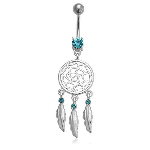 Light Blue Gemstone Trendy Dream Catcher Dangling Design 925 Sterling Silver Belly Button Ring