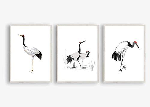Kunstdruck Din A4 ungerahmt 3-teilig Kranich, Reiher, Vogel, Asiatische Kunst, Asien, Tuschemalerei, Druck, Poster, Bild, Deko, Geschenk