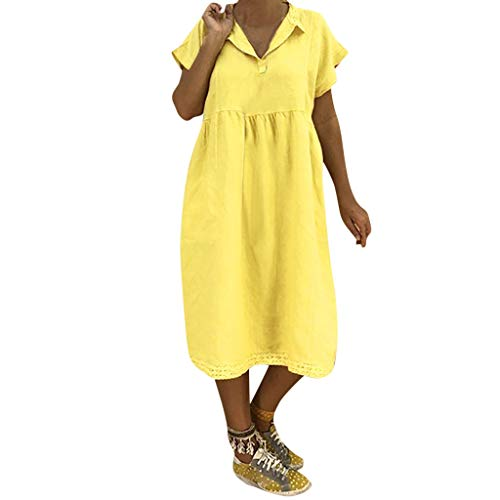 LOPILY Lose Tunika Blusenkleider Damen Sommer Lässige Spitzensaum V-Ausschnitt Kleider Strandkleid Einfarbig Einfach Bequem Freizeit Knielang Sommerkleider Übergröße(Gelb,DE-46/CN-3XL)