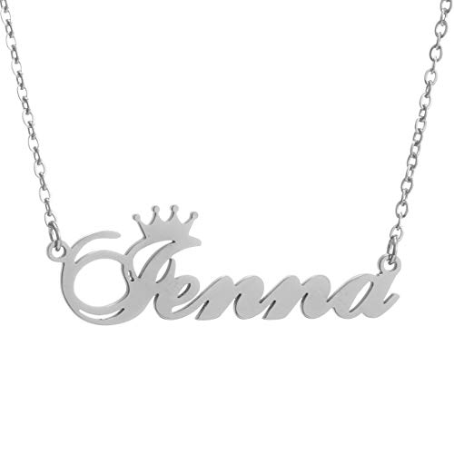 Personalized Name Crown Necklace,Customized Script Initial Women Girl Nameplate Charm Crown Necklace Stainless Steel Pendant Necklace Chain Jewelry Gift for Boy Jenna-Silver