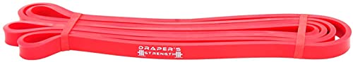 Draper's Strength Heavy Duty Resistance Stretch Loop Bands for Powerlifting Workout Exercise and Assisted Pull Ups 02. Red